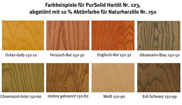 AURO Farbbeispiele der Abtönfarben für Naturholzöle