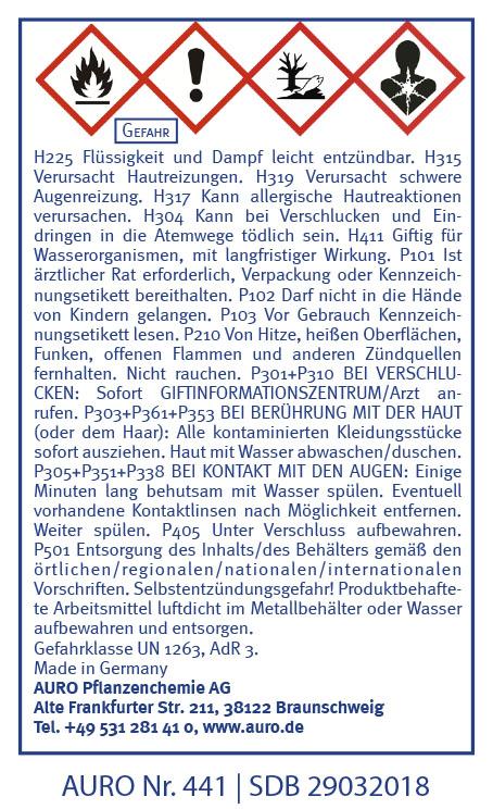 GHS Hinweise AURO Arvengeist-Möbelpolitur Nr. 441