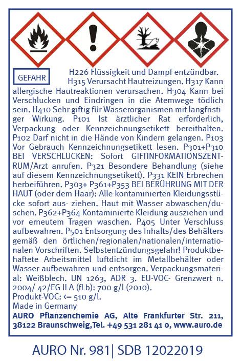 GHS Hinweise AURO Bienenwachs-Balsam Nr. 981