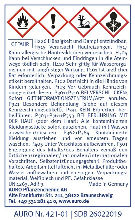 GHS Hinweise AURO Bundeskanzlermischung Nr. 421-01