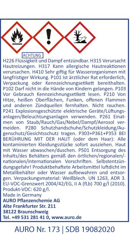 GHS Hinweise AURO Möbelbalsam Nr. 173