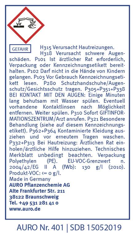 GHS Hinweise AURO Nadelholzlauge Nr. 401