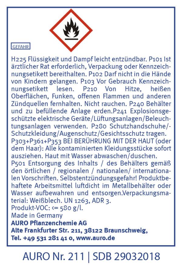 GHS Hinweise AURO Schellack Klarlack glänzend Nr. 211