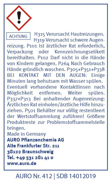 GHS Hinweise AURO Schimmel-Entferner Nr. 412